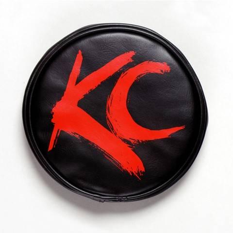 """KC HiLiTES - KC HiLiTES 6"""" Vinyl Cover - KC #5110 (Black with Red Brushed KC Logo) 5110"""