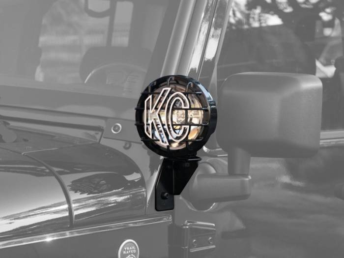 KC HiLiTES - KC HiLiTES Windshield Side Mount Light Bracket for Jeep JK (2007-2018) - Black - KC #7317 7317