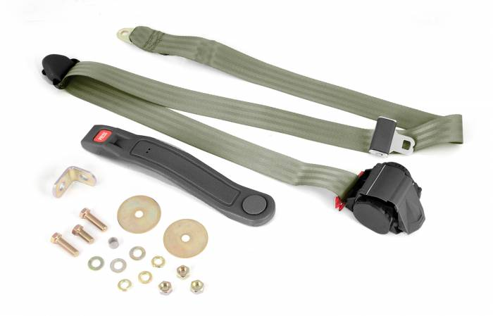 Omix-Ada - Omix-Ada 3-Point Seat Belt, Olive, Retractable, Universal 13202.42