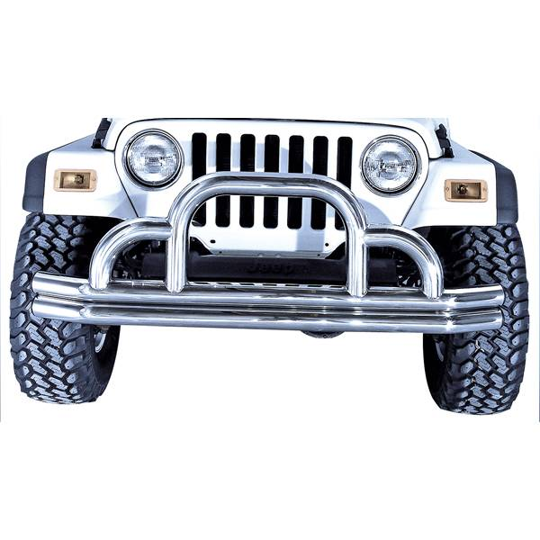 Rugged Ridge - Rugged Ridge Defender Front Bumper, Stainless Steel; 55-06 Jeep CJ/Wrangler YJ/TJ 11521.01