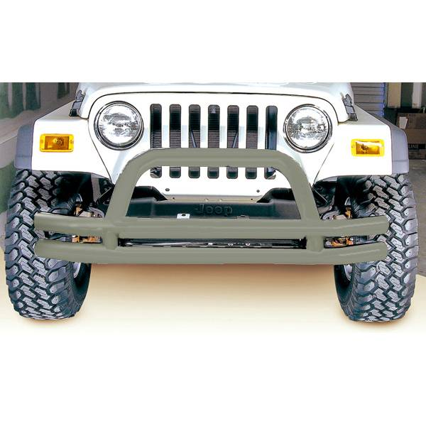 Rugged Ridge - Rugged Ridge Double Tube Frnt Bmpr, 3 Inch, Titanium; 76-06 Jeep CJ/Wrangler YJ/TJ 11562.01