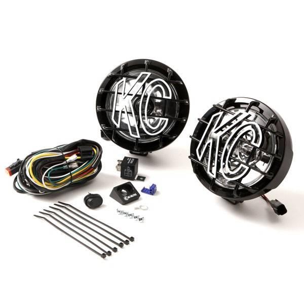 """KC HiLiTES - KC HiLiTES 6"""" SlimLite Halogen Pair Pack System - Black - KC #128 (Spot Beam) 128"""