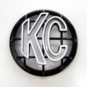 "KC HiLiTES - KC HiLiTES 5"" Apollo Stone Guard - KC #7217 (Black with White KC Logo) 7217 - Image 1"