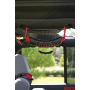 Interior - Handles - Rugged Ridge - Rugged Ridge Rear Side Grab Handles, Red; 07-16 Jeep Wrangler JKU 13305.15