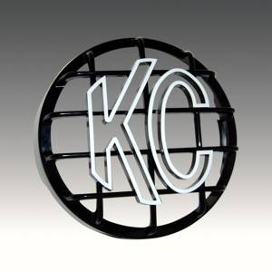 "KC HiLiTES - KC HiLiTES 8"" Stone Guard - KC #7214 (Black with White KC Logo) 7214 - Image 2"