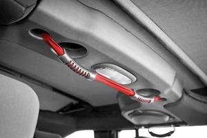 Interior - Handles - Rugged Ridge - Rugged Ridge Rear Dual Grab Strap, Red; 07-16 Jeep Wrangler JKU 13305.13