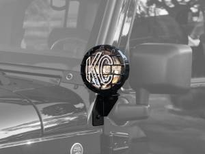 Lighting - Mounts & Wiring - KC HiLiTES - KC HiLiTES Windshield Side Mount Light Bracket for Jeep JK (2007-2018) - Black - KC #7317 7317