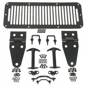 Axle Parts - Diff Covers - Rugged Ridge - Rugged Ridge Hood Kit, Black; 78-95 Jeep CJ/Wrangler YJ 11201.01