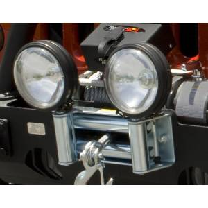 Recovery Gear - Accessories - Rugged Ridge - Rugged Ridge Roller Fairlead with Offroad Light Mounts 11238.03