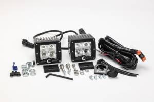 "KC HiLiTES - KC HiLiTES 3"" C-Series C3 LED Flood Beam Black Pair Pack System - #332 332 - Image 4"