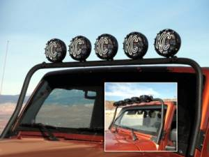 Lighting - LED Light Bars - KC HiLiTES - KC HiLiTES 5-Tab Overhead Light Bar for Jeep Wrangler JK (2007-2016) - Black - KC #7417 7417