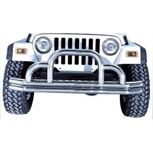Exterior - Bumpers - Rugged Ridge - Rugged Ridge Defender Front Bumper, Stainless Steel; 55-06 Jeep CJ/Wrangler YJ/TJ 11521.01