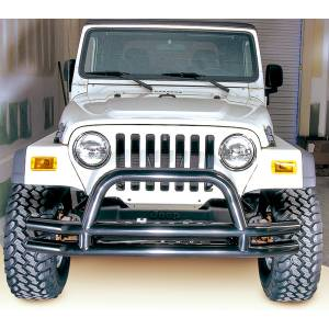 Lighting - 3rd Brake Lights - Rugged Ridge - Rugged Ridge Double Tube Front Bumper w/ Hoop, 3 Inch; 76-06 Jeep CJ/Wrangler YJ/TJ 11560.01