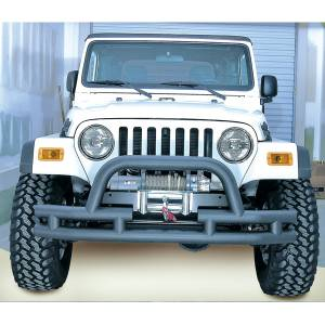 Exterior - Bumpers - Rugged Ridge - Rugged Ridge Double Tube Front Winch Bumper with Hoop, 3 Inch; 76-06 Jeep Models 11561.03