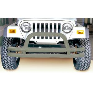 Exterior - Bumpers - Rugged Ridge - Rugged Ridge Double Tube Frnt Bmpr, 3 Inch, Titanium; 76-06 Jeep CJ/Wrangler YJ/TJ 11562.01
