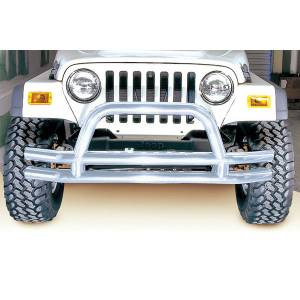 Exterior - Bumpers - Rugged Ridge - Rugged Ridge Double Tube Front Bumper, 3 Inch, Stainless Steel; 76-06 Jeep Models 11563.01