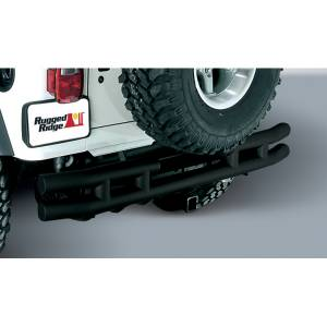 Exterior - Bumpers - Rugged Ridge - Rugged Ridge Double Tube Rear Bumper with Hitch, 3 Inch; 55-86 Jeep CJ Models 11570.02
