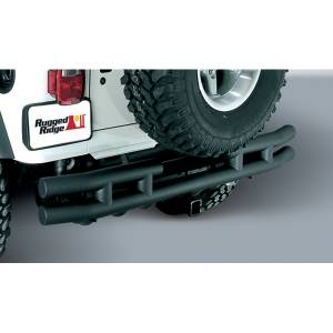 Exterior - Bumpers - Rugged Ridge - Rugged Ridge Double Tube Rear Bumper with Hitch, 3 Inch; 55-86 Jeep CJ Models 11571.02