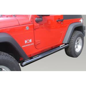 Running Boards, Nerf Bars & Steps - Nerf Bars - Rugged Ridge - Rugged Ridge Round Tube Side Steps, 3 Inch, Black; 07-16 Jeep Wrangler JK 11590.05