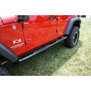 Running Boards, Nerf Bars & Steps - Nerf Bars - Rugged Ridge - Rugged Ridge Round Tube Side Steps, 3 Inch, Black; 07-16 Jeep Wrangler JKU 11590.06