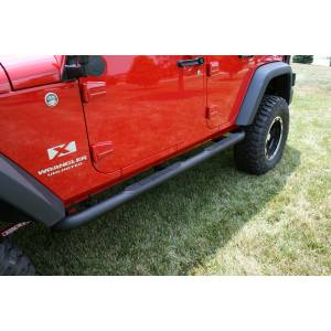 Running Boards, Nerf Bars & Steps - Nerf Bars - Rugged Ridge - Rugged Ridge Round Tube Side Steps, 3 Inch, Black; 07-16 Jeep Wrangler JKU 11591.06