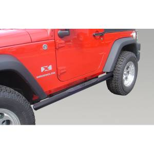 Running Boards, Nerf Bars & Steps - Nerf Bars - Rugged Ridge - Rugged Ridge Oval Tube Side Steps, 4 1/4 Inch, Black; 07-16 Jeep Wrangler JK 11591.07