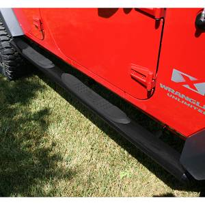 Running Boards, Nerf Bars & Steps - Nerf Bars - Rugged Ridge - Rugged Ridge Oval Tube Side Steps, 4 1/4 Inch, Black; 07-16 Jeep Wrangler JKU 11591.08