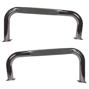 Running Boards, Nerf Bars & Steps - Nerf Bars - Rugged Ridge - Rugged Ridge Round Tube Side Steps, 3 Inch, Stainless Steel; 76-83 Jeep CJ7 11593.02