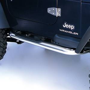 Running Boards, Nerf Bars & Steps - Nerf Bars - Rugged Ridge - Rugged Ridge Round Tube Side Steps, 3 Inch, Stainless Steel; 97-06 Jeep Wrangler TJ 11593.04
