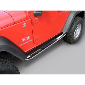 Running Boards, Nerf Bars & Steps - Nerf Bars - Rugged Ridge - Rugged Ridge Round Tube Side Steps, 3 Inch, Stainless; 07-16 Jeep Wrangler 2 Door 11593.05