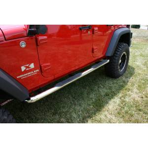Running Boards, Nerf Bars & Steps - Nerf Bars - Rugged Ridge - Rugged Ridge Round Tube Side Steps, 3 Inch, Stainless; 07-16 Jeep Wrangler JKU 11593.06