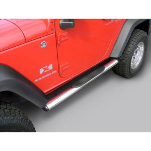 Running Boards, Nerf Bars & Steps - Nerf Bars - Rugged Ridge - Rugged Ridge 4 1/4 Inch Oval Side Steps, Stainless Steel; 07-16 Jeep Wrangler JK 11593.07