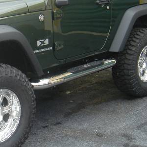 Running Boards, Nerf Bars & Steps - Nerf Bars - Rugged Ridge - Rugged Ridge 4 Inch Round Side Steps, Stainless Steel; 07-16 Jeep Wrangler JK 11593.09