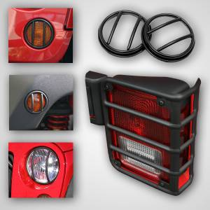 Rugged Ridge - Rugged Ridge 10 Piece Euro Guard Light Kit, Black; 07-16 Jeep W 12496.02