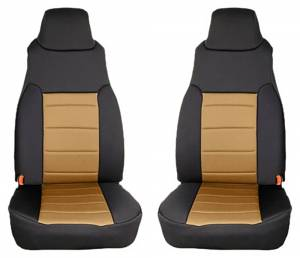 Interior - Seat Covers - Rugged Ridge - Rugged Ridge Neoprene Front Seat Covers, Tan; 97-02 Jeep Wrangler TJ 13210.04