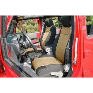 Interior - Seat Covers - Rugged Ridge - Rugged Ridge Neoprene Front Seat Covers, Black/Tan; 11-16 Jeep Wrangler JK 13215.04