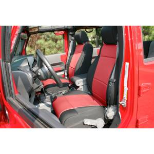 Interior - Seat Covers - Rugged Ridge - Rugged Ridge Neoprene Front Seat Covers, Black/Red; 11-16 Jeep Wrangler 13215.53