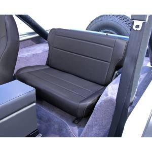 Interior - Seats & Mounts - Rugged Ridge - Rugged Ridge Fold and Tumble Rear Seat, Black Denim; 76-95 Jeep CJ/Wrangler YJ 13462.15
