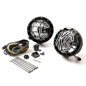 """Lighting - Off Road Lights - KC HiLiTES - KC HiLiTES 6"""" SlimLite Halogen Pair Pack System - Black - KC #128 (Spot Beam) 128"""