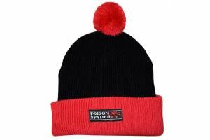 Apparel & Gear - Hats - Poison Spyder - Poison Spyder Ps Logo Pom Beanie Blk/Red 8In Folded 50-46-226